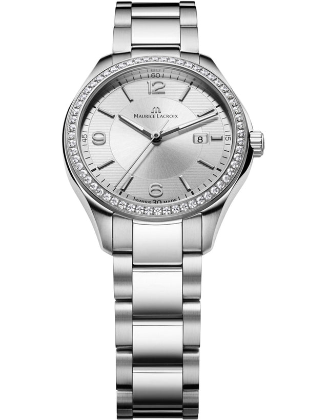MAURICE LACROIX MIROS DATE DIAMOND SILVER DIAL LADIES WATCH