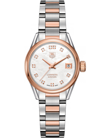 Tag Heuer Carrera Automatic Mother Of Pearl Diamond Dial Rose Gold & Steel Women's Watch