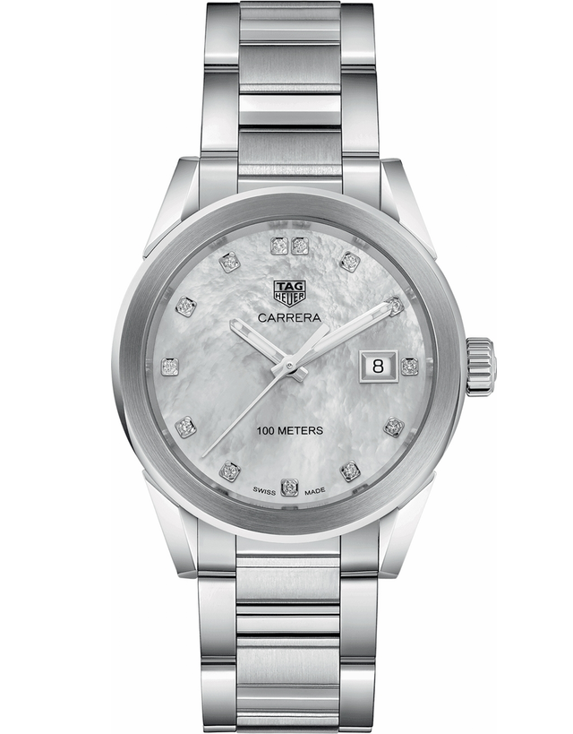 TAG HEUER CARRERA QUARTZ MOTHER OF PEARL DIAMOND DIAL WOMEN'S WATCH
