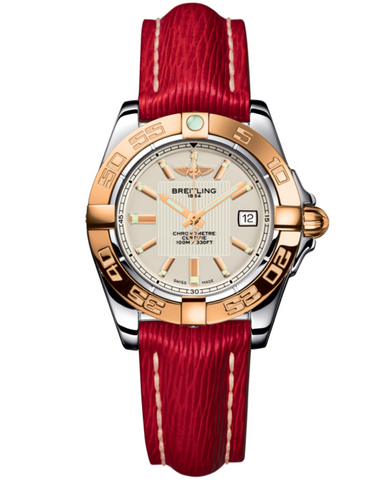 BREITLING GALACTIC 32 STEEL AND ROSE GOLD RED SAHARA LEATHER WOMEN'S WATCH