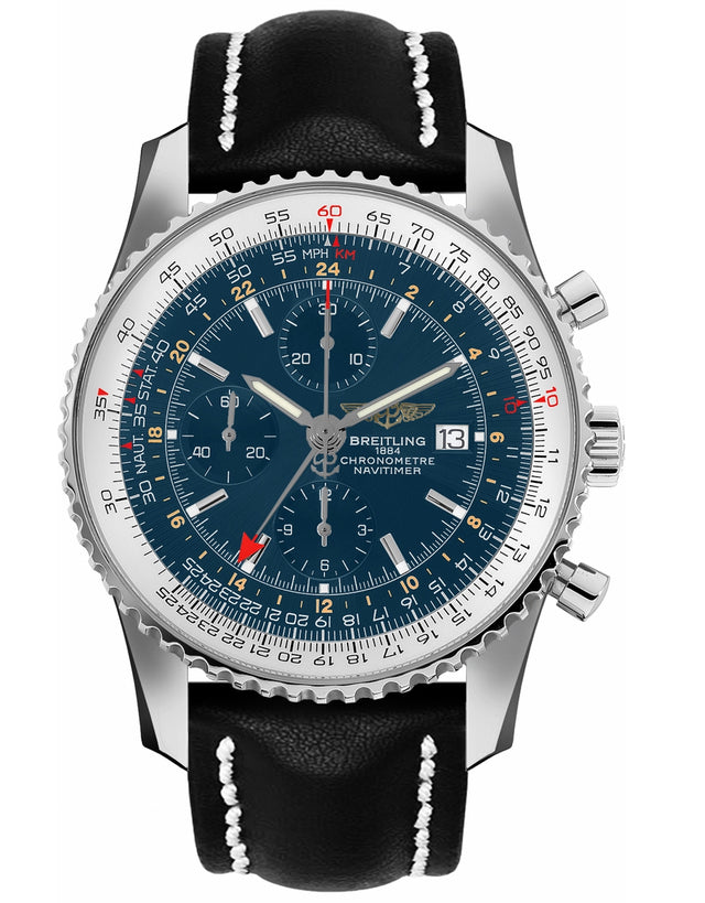 Breitling Navitimer World Blue Chronograph Gmt Dial Black Leather Strap Men's Watch
