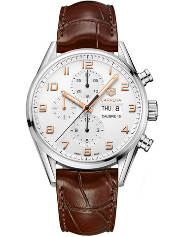 Tag Heuer Carrera Calibre 16 Chronograph Automatic Day-Date Silver Dial Leather Strap Men's Watch