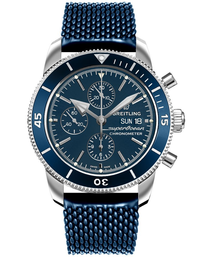 Breitling Superocean Heritage II Chronograph 44 Blue Dial Blue Aero Classic Rubber Men's Watch