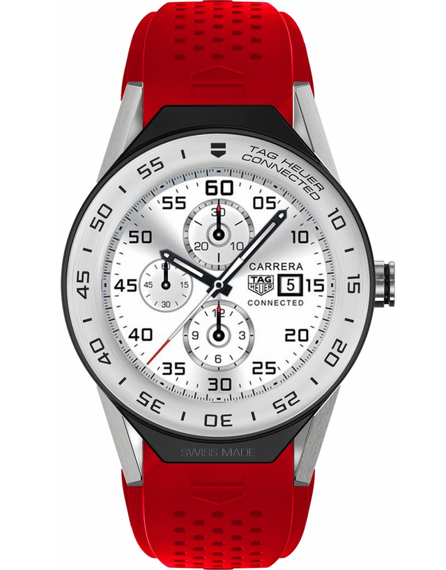TAG HEUER CONNECTED MODULAR 41 TITANIUM RED RUBBER MEN'S WATCH