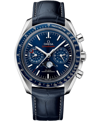 Omega Speedmaster Moonphase Co-Axial Master Chronometer Chronograph Blue Dial Leather Strap Men's Watch