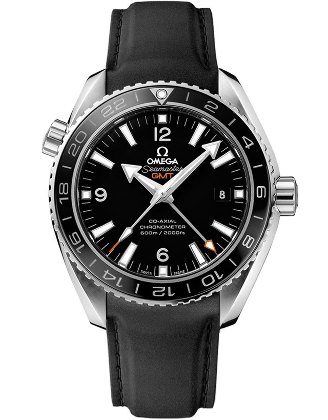 Omega Seamaster Planet Ocean 600m GMT Black Dial Rubber Strap Men's Watch