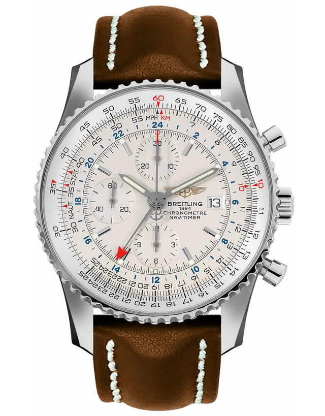 BREITLING NAVITIMER SILVER DIAL GMT CHRONOGRAPH BROWN CALF STRAP MEN'S WATCH