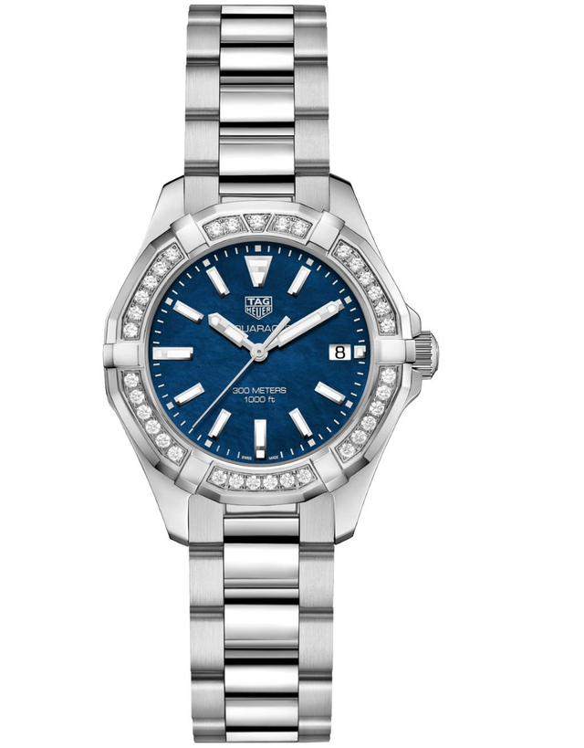 Tag Heuer Aquaracer Lady 300M 35Mm Blue Mother Of Pearl Dial Diamond Bezel Women's Watch