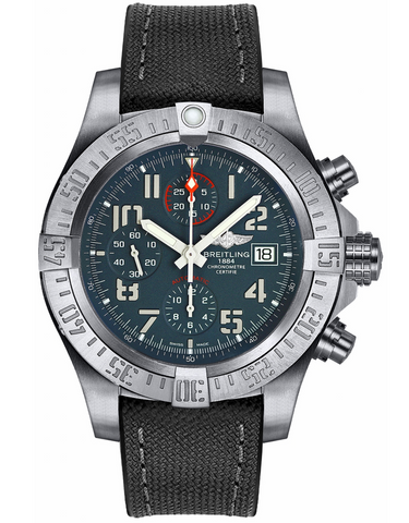 Breitling Avenger Bandit Grey Chronograph Dial Black Canvas Strap Men's Watch