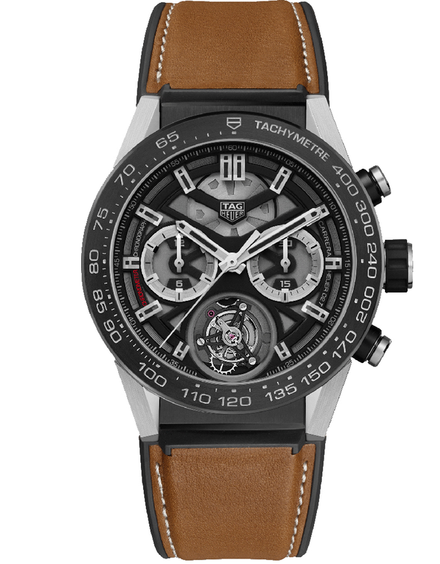 Tag Heuer Carrera Tourbillon Brown Leather Men's Watch