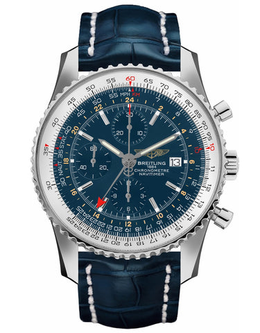 BREITLING NAVITIMER WORLD BLUE GMT CHRONOGRAPH DIAL CROCODILE STRAP MEN'S WATCH