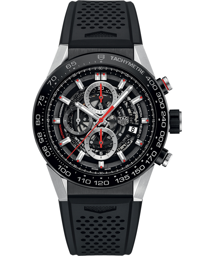 Tag Heuer Carrera Calibre Heuer 01 Automatic Skeleton Dial Black Rubber Strap Men's Watch