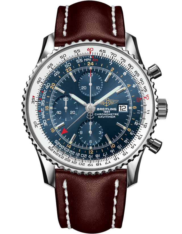 BREITLING NAVITIMER WORLD GMT BLUE DIAL BROWN LEATHER STRAP MEN'S WATCH