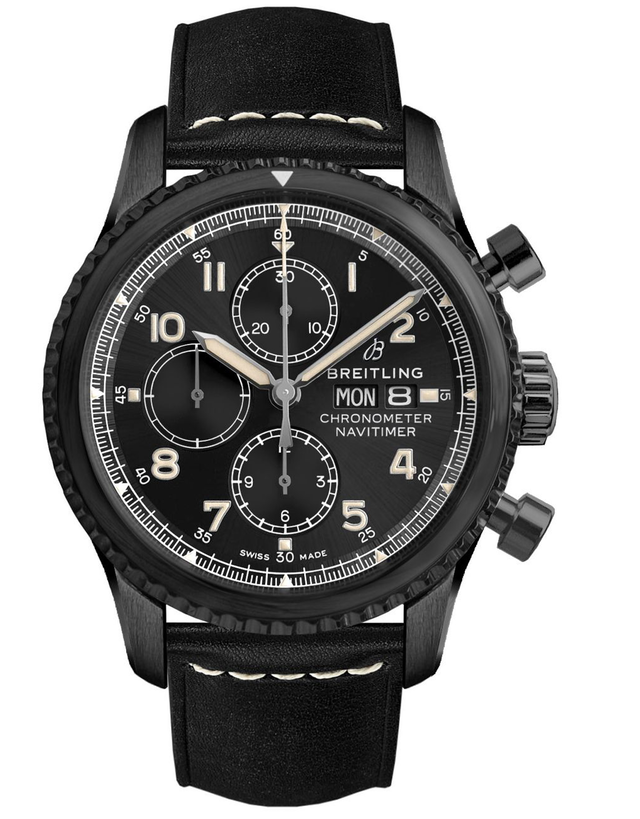 BREITLING NAVITIMER 8 CHRONOGRAPH 43 BLACK STEEL BLACK LEATHER MEN'S WATCH