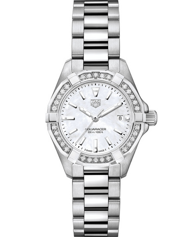 Tag Heuer Aquaracer Lady 300M 27mm Mother Of Pearl Dial Diamond Bezel Women's Watch
