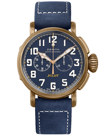 Zenith Pilot Type 20 Chronograph Extra Special Bronze Case Blue Dial Men's Watch