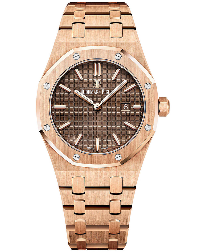 AUDEMARS PIGUET ROYAL OAK 18K ROSE GOLD DARK GREY QUARTZ
