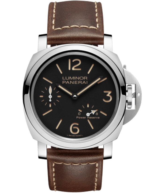 Panerai Luminor 8 Days Power Reserve 44mm Black Dial Brown Leather Strap Men's Watch