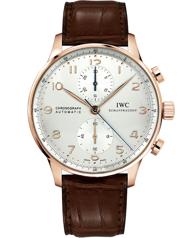 IWC Portugieser Automatic Chronograph 18Kt Rose Gold Silver Dial Leather Strap Men's Watch