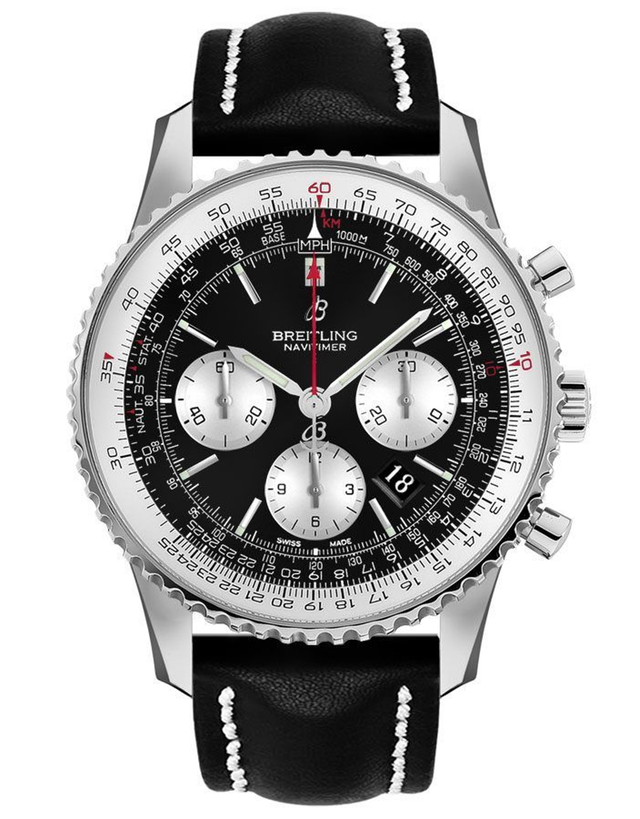 Breitling Navitimer 1 B01 Chronograph 46 Black Dial Black Leather Men's Watch
