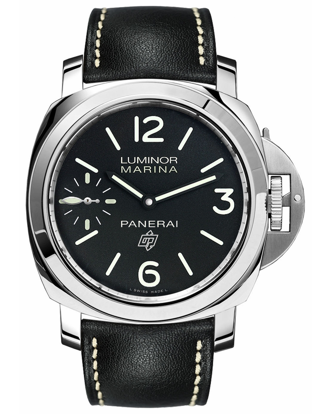 PANERAI LUMINOR MARINA LOGO ACCIAIO BLACK DIAL LEATHER STRAP MEN'S WATCH