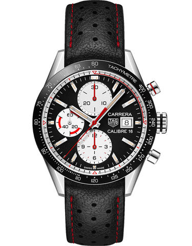 Tag Heuer Carrera Calibre 16 Chronograph Black Dial Black Leather Strap Men's Watch