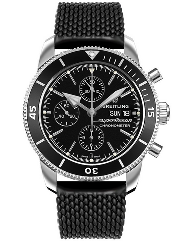 Breitling Superocean Heritage II Chronograph 44 Black Dial Aero Classic Rubber Strap Men's Watch