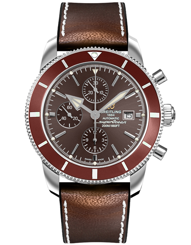 Breitling Superocean Heritage II Chronograph 46 Copperhead Bronze Dial Leather Strap Men's Watch