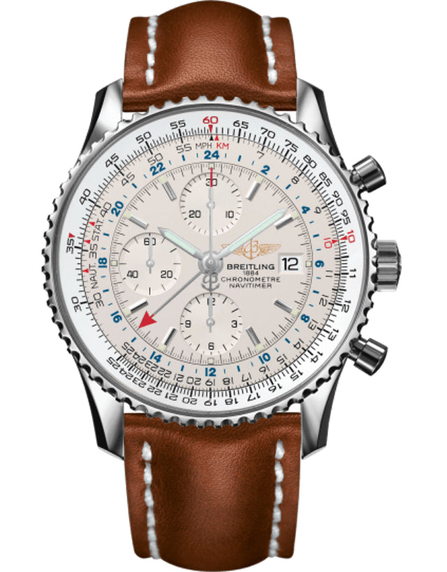 BREITLING NAVITIMER SILVER DIAL BROWN STRAP MEN'S WATCH