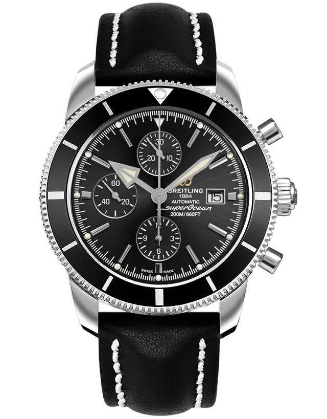 Breitling Superocean Heritage II Chronograph 46 Black Dial Black Leather Men's Watch