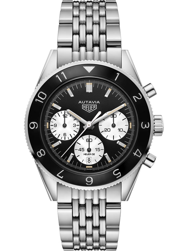 TAG HEUER HERITAGE AUTAVIA AUTOMATIC CHRONOGRAPH BLACK DIAL MEN'S WATCH