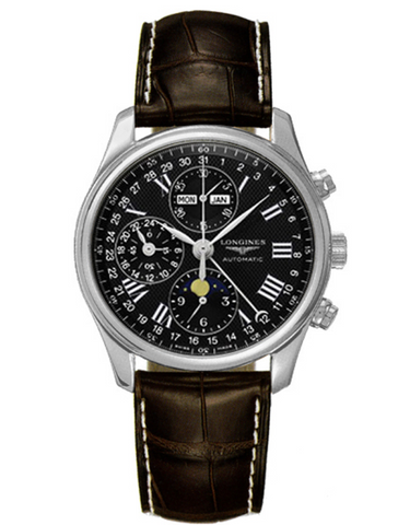 Longines Master Collection Moonphase Chronograph Black Dial Leather Strap Men's Watch