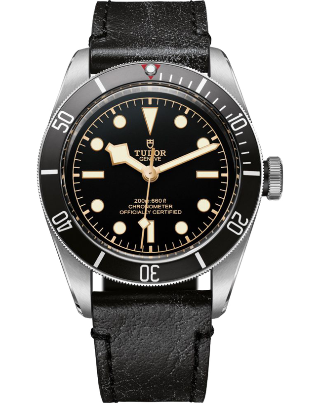 Tudor Heritage Black Bay Black Dial Automatic Leather Strap Men's Watch