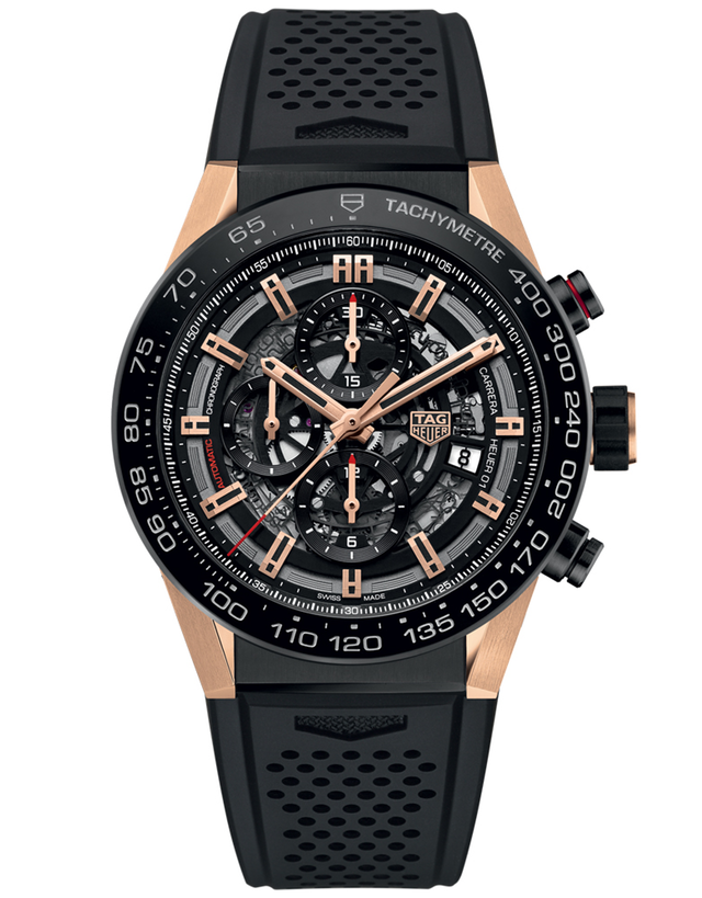 TAG HEUER CARRERA CALIBRE HEUER 01 SKELETON DIAL ROSE GOLD & TITANIUM CASE RUBBER STRAP MEN'S WATCH