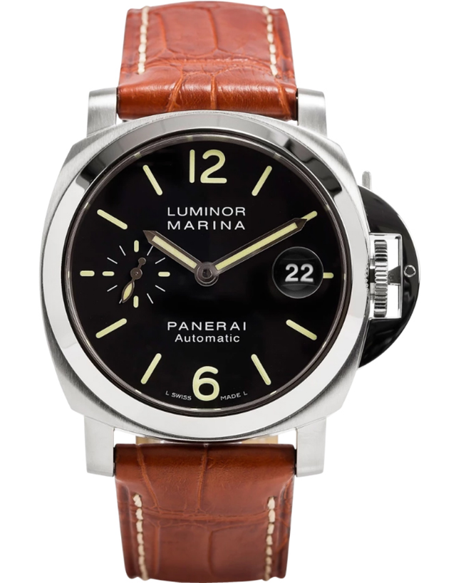 Panerai Luminor Marina Automatic Black Dial Leather Strap Men's Watch