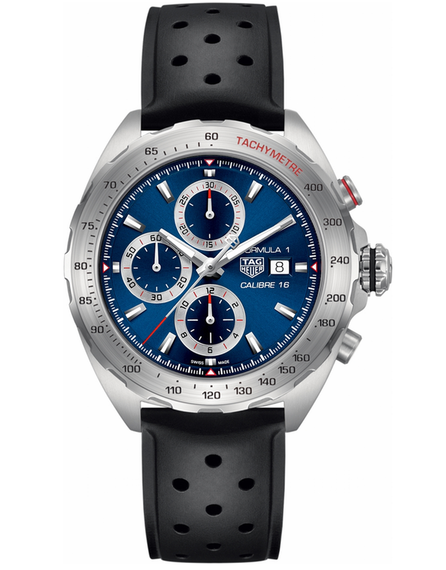 TAG HEUER FORMULA 1 AUTOMATIC CHRONOGRAPH BLUE DIAL RUBBER STRAP MEN'S WATCH