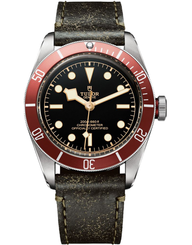 TUDOR HERITAGE BLACK BAY AUTOMATIC RED BEZEL BLACK LEATHER STRAP MEN'S WATCH