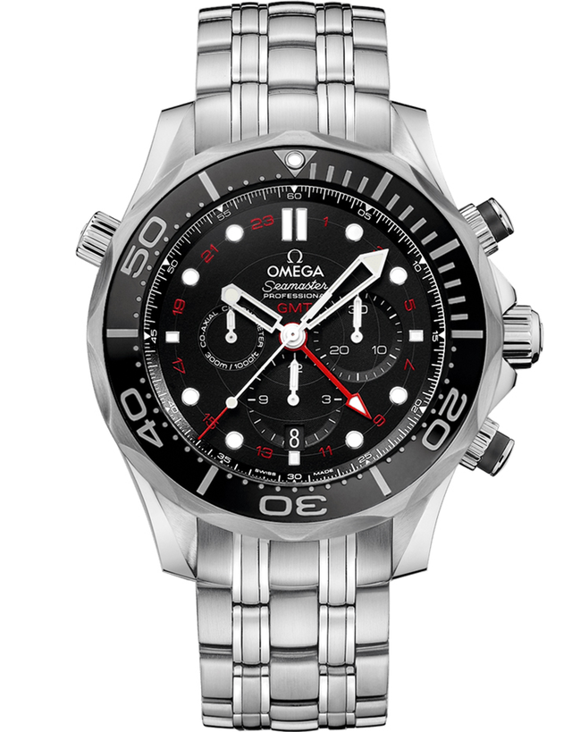 Omega Seamaster Diver 300m Co-Axial Chronograph GMT Black Dial Steel Men's Watch