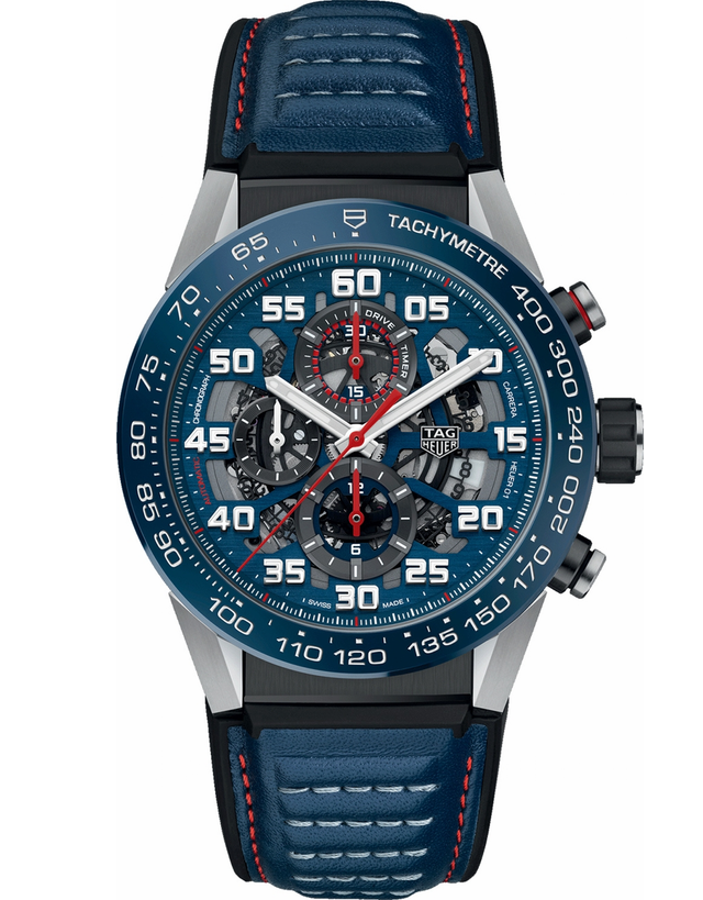 TAG HEUER CARRERA CALIBRE HEUER 01 RED BULL RACING SPECIAL EDITION BLUE RUBBER/LEATHER STRAP MEN'S WATCH