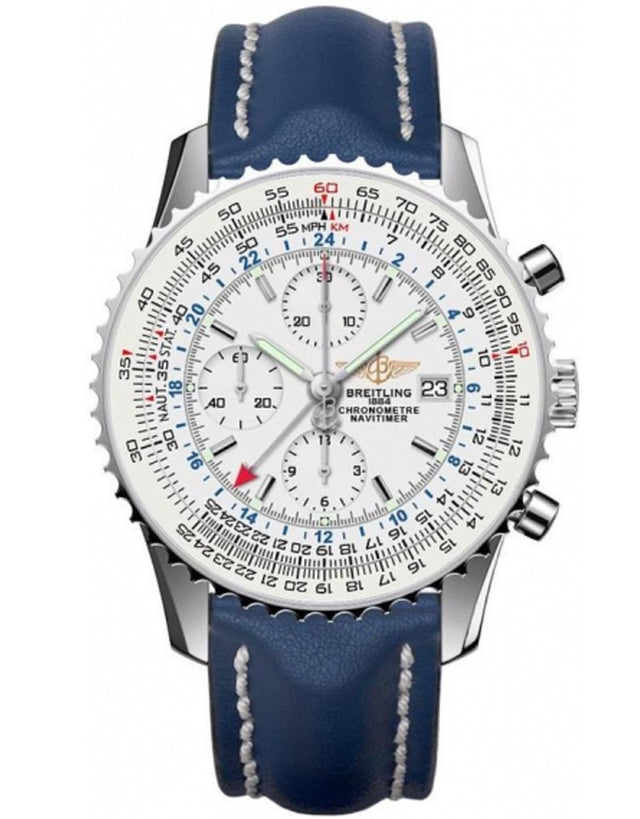 BREITLING NAVITIMER WORLD AUTOMATIC CHRONOGRAPH SILVER DIAL BLUE LEATHER MEN'S WATCH