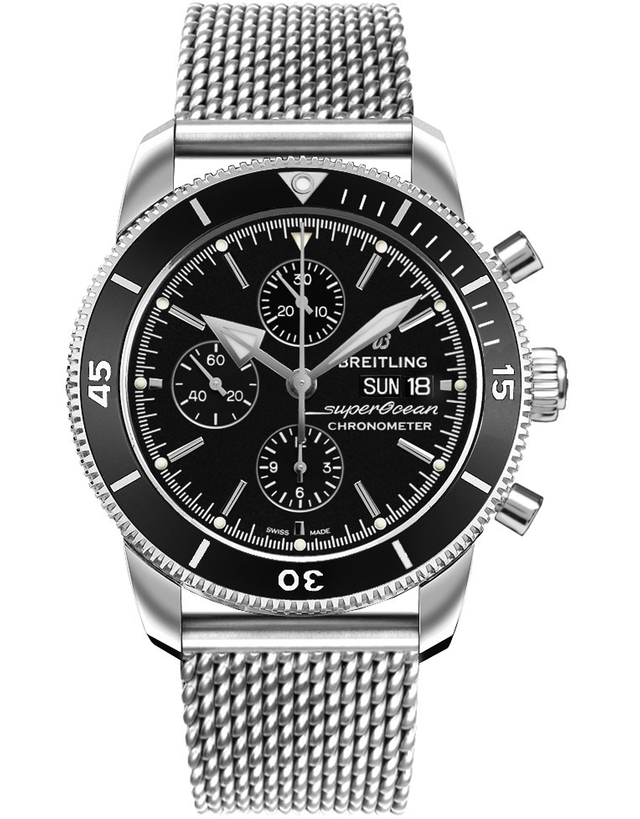 Breitling Superocean Heritage Ii Chronograph 44 Black Dial Ocean Classic Stainless Steel Band Men's Watch