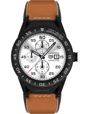 TAG HEUER CONNECTED MODULAR 45 BROWN CALFSKIN STRAP WITH BLACK MAT CERAMIC BEZEL MEN'S WATCH