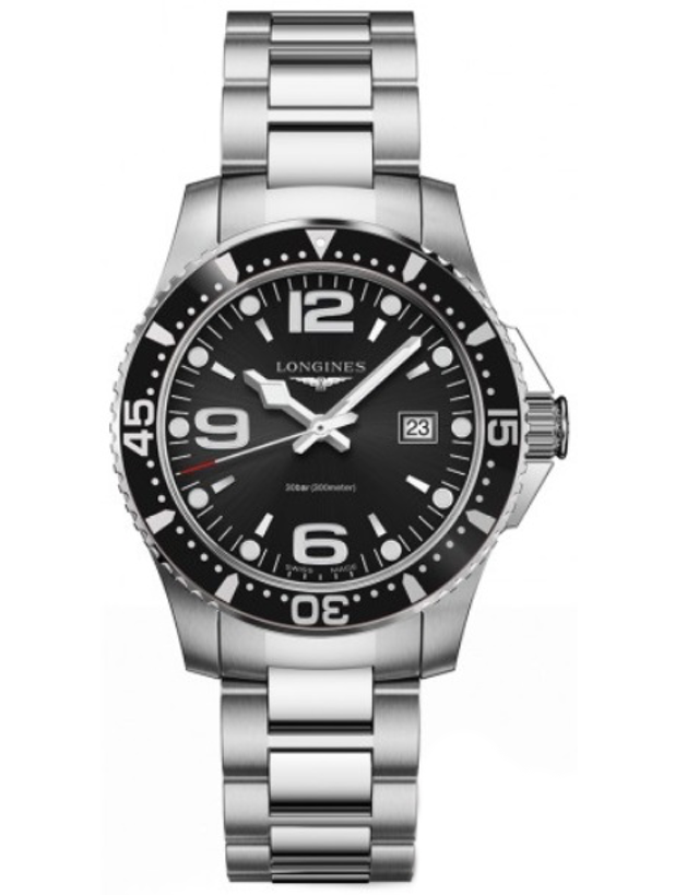 LONGINES HYDROCONQUEST QUARTZ BLACK DIAL MEN'S WATCH