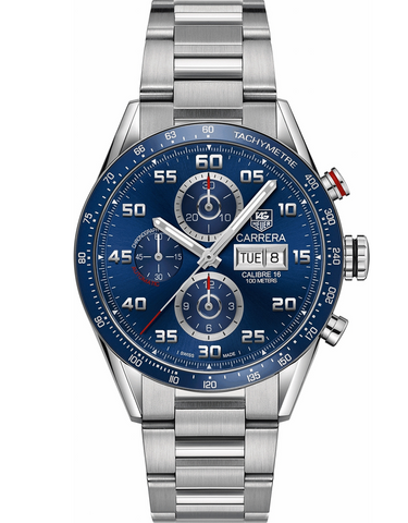 Tag Heuer Carrera Calibre 16 Chronograph Day Date Blue Dial Steel Men's Watch