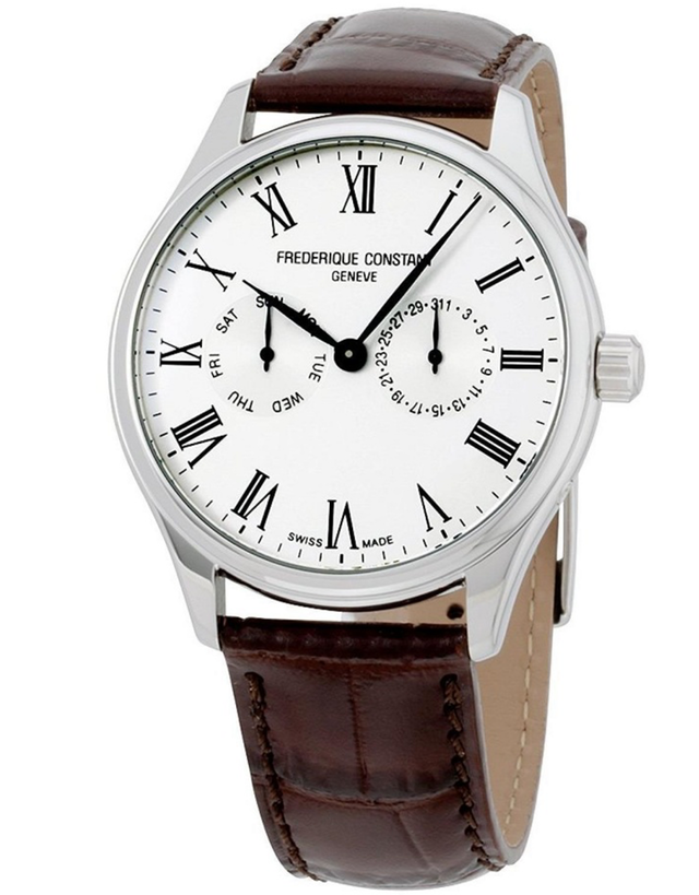FREDERIQUE CONSTANT CLASSICS SILVER DIAL MEN'S BROWN LEATHER WATCH