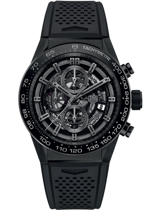 Tag Heuer Carrera Calibre Heuer 01 Ceramic 45mm Skeleton Chronograph Dial Rubber Strap Men's Watch