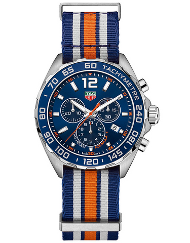 TAG HEUER FORMULA 1 QUARTZ CHRONOGRAPH BLUE STRIPED NATO STRAP MEN'S WATCH