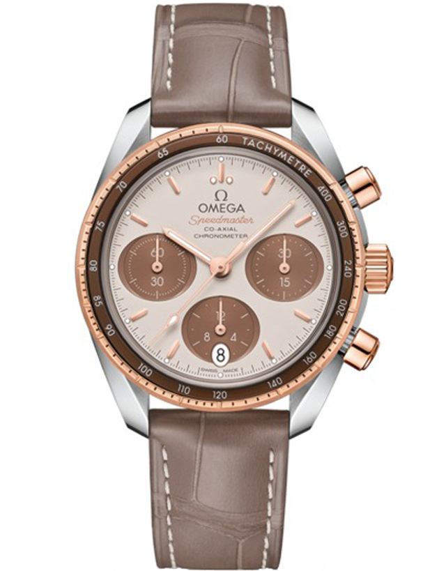 Omega Speedmaster Co-Axial Chronograph 38mm Rose Gold & Steel Brown Leather Strap Unisex Watch