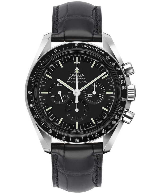 Omega Speedmaster Professional Moonwatch Black Chronograph Leather Strap Men's Watch