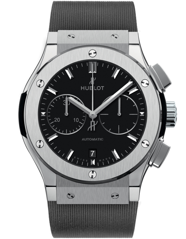 Hublot Classic Fusion Chronograph Titanium Black Dial Black Rubber Men's Watch